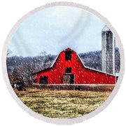 Cold Winter Day At The Farm Round Beach Towel