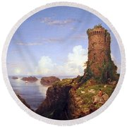 Cole's Italian Coast Scene With Ruined Tower Round Beach Towel