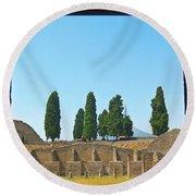 Coliseum At Pompeii Round Beach Towel