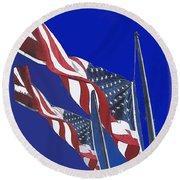 Collage Half Mast Flag Honoring President Ronald Reagan Number 2 Casa Grande Az  2004-2013 Vignetted Round Beach Towel