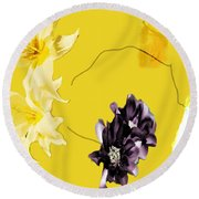 Collage In Yellow Round Beach Towel