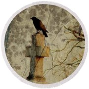 Collage Of Crow Round Beach Towel