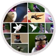 Collage Of Hummers 2 Round Beach Towel