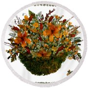 Collage With Wild Flowers Round Beach Towel