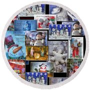 Collage Xmas Cards Vertical Photo Art Round Beach Towel