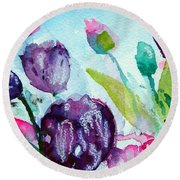 Collecting Pink And Purple Tulips Round Beach Towel
