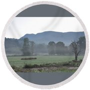 Collecting The Hay Round Beach Towel