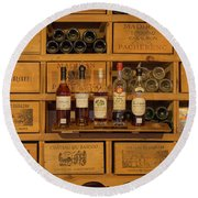 Collection Of Wines And Armagnac Round Beach Towel