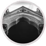 College Hall Entry - Black And White Round Beach Towel