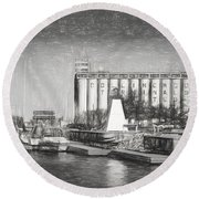 Collingwood Terminals In Old Days Round Beach Towel