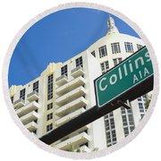 Collins Avenue Round Beach Towel