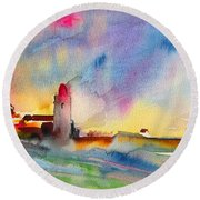 Collioure Impression 01 Round Beach Towel
