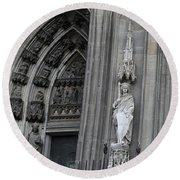 Cologne Cathedral South Side Detail 1 Round Beach Towel