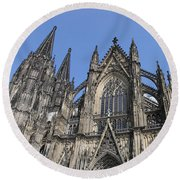 Cologne Cathedral South Side Rooflines Round Beach Towel