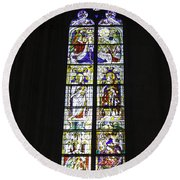 Cologne Cathedral Stained Glass Window Coronation Of The Virgin Round Beach Towel