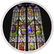 Cologne Cathedral Stained Glass Window Of Pentecost Round Beach Towel