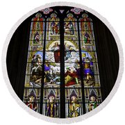 Cologne Cathedral Stained Glass Window Of St Paul Round Beach Towel