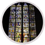 Cologne Cathedral Stained Glass Window Of St Peter And Tree Of Jesse Round Beach Towel