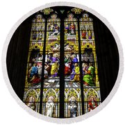 Cologne Cathedral Stained Glass Window Of St Peter Round Beach Towel