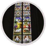 Cologne Cathedral Stained Glass Window Of St. Stephen Round Beach Towel