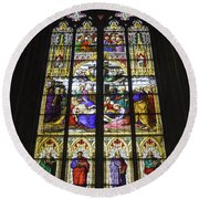 Cologne Cathedral Stained Glass Window Of The Lamentation Round Beach Towel