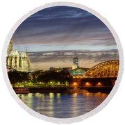Cologne Cathedral With Rhine Riverside Round Beach Towel