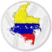 Colombia Painted Flag Map Round Beach Towel