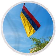 Colombian Flag And Blue Sky Round Beach Towel