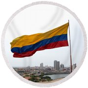 Colombian Flag Over Cartagena Round Beach Towel