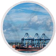 Colon Container Terminal, Panama Canal Round Beach Towel