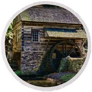Colonial Grist Mill Round Beach Towel