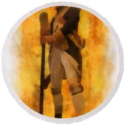 Colonial Soldier Photo Art  Round Beach Towel by Thomas Woolworth