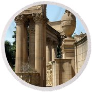 Colonnades Palaces Of Fine Arts Round Beach Towel