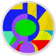 Color And Shape Series #1 Round Beach Towel
