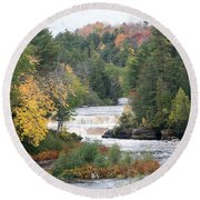 Color At The Falls Round Beach Towel