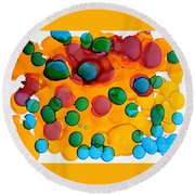 Color Bubbles Round Beach Towel