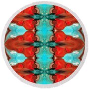 Color Chant - Red And Aqua Pattern Art By Sharon Cummings Round Beach Towel