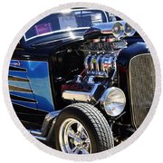 Color Chrome 1932 Black Ford Coupe Round Beach Towel