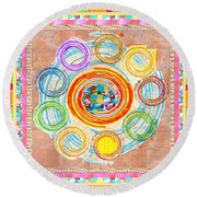 Color Circles Crystal Stones Borders Chakra Energy Healing Round Beach Towel