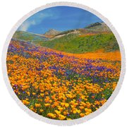 Color Filled Hills Round Beach Towel