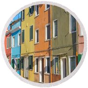 Color Houses In Row Round Beach Towel