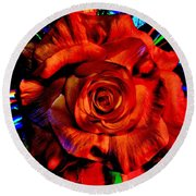 Color Intensive Rose Round Beach Towel
