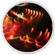 Color Light Motion Round Beach Towel