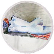 Color Nude #1 Round Beach Towel