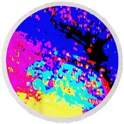 Color Of Rain Abstract Round Beach Towel