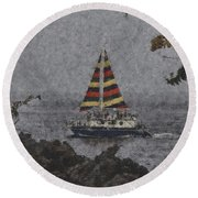 Color Of The Sails Round Beach Towel
