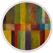 Color Panel Abstract Ll Round Beach Towel