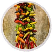 Color Peppers From Spain With Textured Background Dsc01467 Round Beach Towel