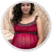 Color Portrait Young Pregnant Spanish Woman I Round Beach Towel