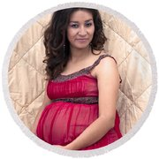 Color Portrait Young Pregnant Spanish Woman II Round Beach Towel